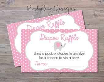 Pink Elephant Diaper Raffle Insert, Elephant Baby Shower Insert, Diaper Raffle Ticket, Pink And Grey Diaper Raffle, Shower Printable