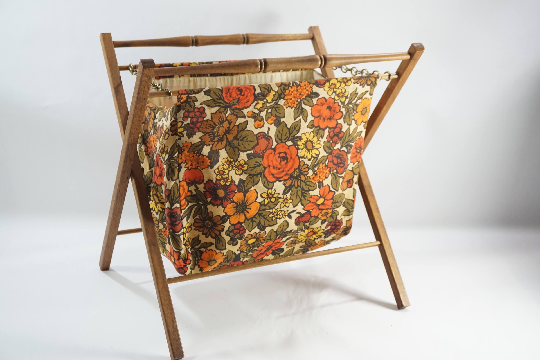 Vintage Folding Knitting Basket : Vintage folding basket large standing knitting