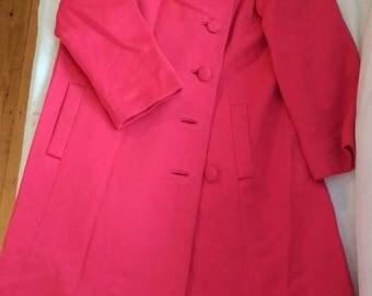 1950 Jackie Kennedy style vintage pink coat
