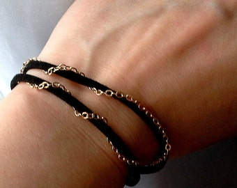 Black Bracelet with Gold chain