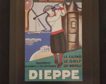 Golf Poster, Dieppe France, Golf Gift, French, Wall Decor, Retro, Illustrated, Genes, Vintage, France