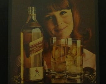 Johnnie Walker Red, Scotch Whiskey, Alcohol Ad, Man Cave Decor, Alcohol Ads, 1969, Wall Hanging, Vintage Advertisement