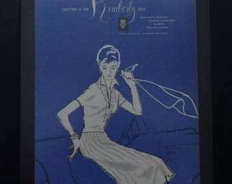 Kimberly Knit Ad, Hansen Gloves, Vogue, 1955, Midcentruy Fashions, Vintage Shop Decor, Ephemera, Illustration
