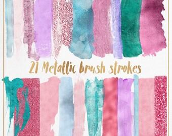 3 FOR 8 Metallic Brush Strokes Clipart, Metallic Clipart, Pink Clipart, Pink glitter Brush Strokes, Acrylic Paint Clipart, glitter clipart