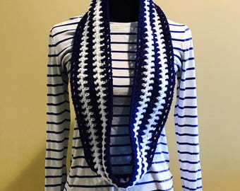 Crocheted neck warmer/infinity scarf/cowl.  Navy blue and white.