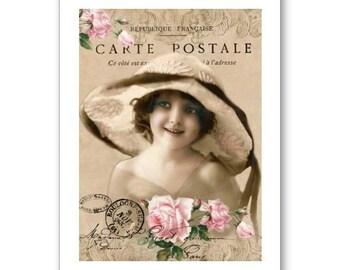 Personalised Handmade Greetings Card ~ Vintage Postcard of A Child  #17