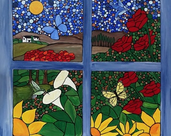 Cottage style art, A view of the garden, 24x24 original painting on canvas, mosaic painting, flowers and butterflies, wall art, home decor