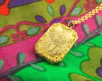 Reserved: Flower Locket Necklace - 1930s Locket - Engraved Locket - Gold Filled Locket - Wedding Locket