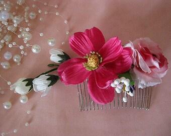 OOAK Romantic Dirndl flower roses headpiece pink fuchsia blue white haircomb berries Oktoberfest wedding bridal