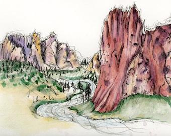 Smith Rock, Oregon: watercolor print
