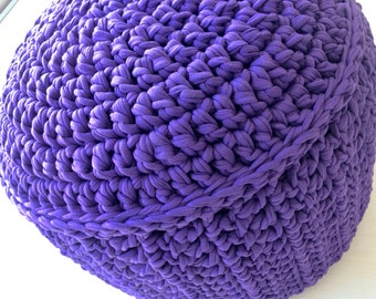Bright purple crocheted knitted pouffe pouf footstool ottoman