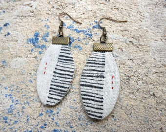 Earrings - textile jewelry - unique Piece - 'sand' collection