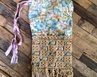 Antique Floral Silk Drawstring Purse