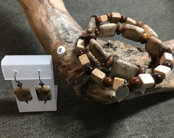Large Memory Wire Bracelet in Brown/Tans
