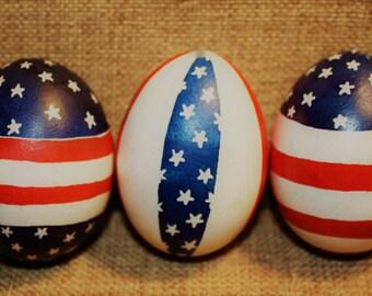American Flag Pysanky Eggs Set of 3