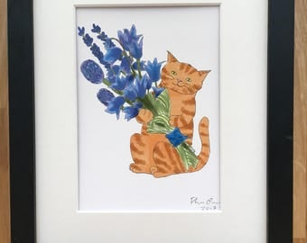Cat with bluebells, high quality giclee print 5x7 inch
