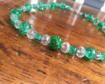 Green and Clear Crystal Necklace