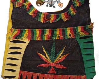 Boho Rasta Weed Pot Leaf Crossbody Sling Purse Tote Boho  Shoulder Bag 420 Marijuana Nepal