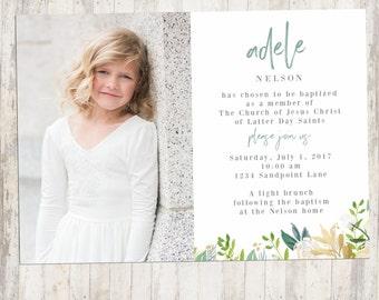 lds baptism invite  etsy, Baptism invites