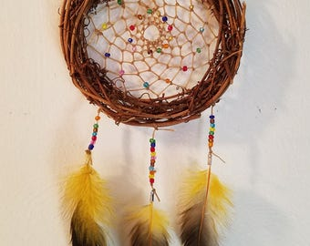Dreamcatcher - Multicolored Beads and Rooster Feathers - #2017-07
