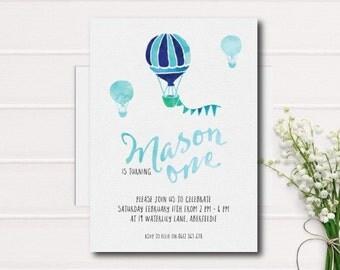 Hot Air Balloon First Birthday Printable Invitation, Boy 1st Birthday Party Invite, Balloon Birthday Printable Invitation, Blue Balloon, Boy
