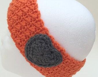 On Sale, Crochet headband orange heart ladies gift crochet earwarmer women headband textured headbands handmade headbands for women crochet