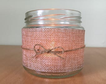 Rustic candle holder jar
