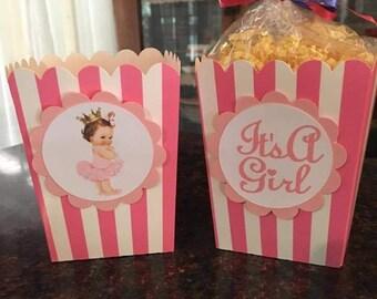 12 Princess Baby Shower Mini Party Favor Popcorn Boxes