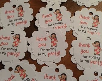 12 Lilo and Stitch Party Favor Thank You Tags (can be personalized)