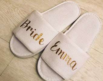 Bride White Slippers, Personalised, Bridal, wedding, open toe, hen do, wedding party, bridesmaid, mother of the bride groom, spa, towelling