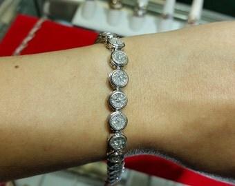 14k White Gold Genuine Diamond Tennis Bracelet 2.5 ctw