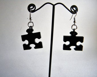 Black Acrylic Puzzle Piece Dangle Earrings