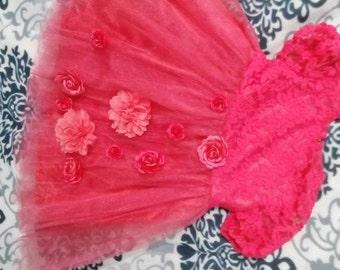 red tutu dress,korall dress for girl,tutu dress in korall,baby dress
