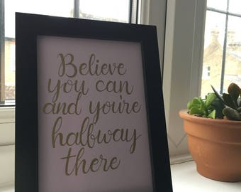 Believe - Lilac Hand lettered original print