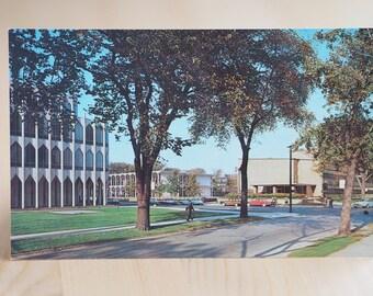 Wayne State University Color Post Card Vintage Photograph Detroit Michigan Travel Americana USA