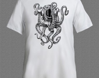 Scuba Diver Octopus Fish Diving Ocean Sea Funny T-shirt