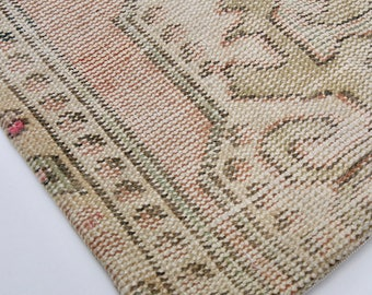 """20"""" Faded Neutral and Pink Vintage Turkish Rug Pillow Cover"""