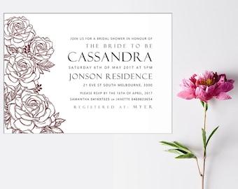 Bridal Shower Invitations, Bridal Shower Invitations Print, Bridal Shower Print Invites, Printable Invitation, Printable Invite, DIY Invite