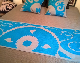 Grey and Turquoise embroidered bed runner Bed dressing Bed cover Turquoise embroidery Central Asian