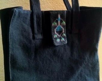 Blue on Black urban tote bag Hand embroidered bag Black handbag Cotton tote Shoulder bag