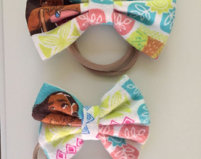 Moana fabric hair bow or bow tie