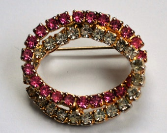 Vintage Pink Clear Rhinestone Brooch/ Pin
