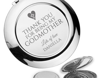 Personalised engraved GODMOTHER compact mirror christening baptism gift idea, handbag mirror - GODM2