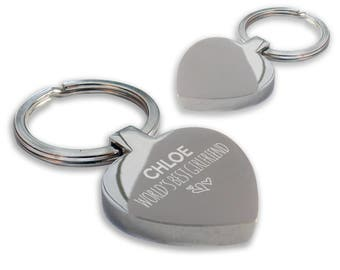 Personalised engraved World's Best GIRLFRIEND keyring gift, chunky heart shape keyring - HE-WB8