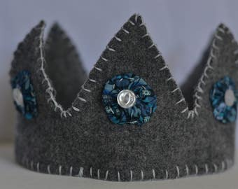 Child's Wool Crown with Liberty of London Fabric and Vintage Buttons (Grey, Blue, White)