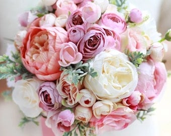 Bridal Bouquet, Wedding Bouquet, Wedding Bouquet, Pink White Bouquet, Peonies, Silk Flower Bouquet