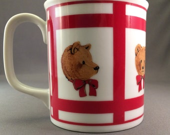 Teddy Bears Mug Gordon Fraser by Curzon - Ceramic Mug - Coffee Mug - Red and White