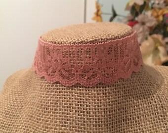 Blush Pink Lace Choker
