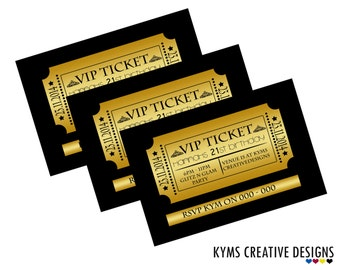 VIP invitation-- VIP PASS, Birthday, Bachelorette/Bachelor Party,Black and Gold Invite, Vip Event Invitation