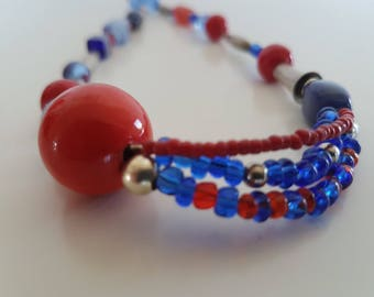 short Pearl necklace, red, cobalt blue and silver